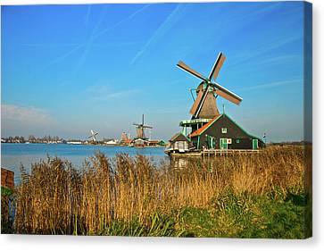 Canvas Print featuring the photograph Windmills On De Zaan by Jonah  Anderson