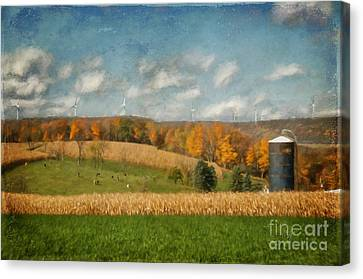 Windmills On The Horizon Canvas Print by Lois Bryan