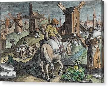 Windmills, Plate 12 From Nova Reperta Canvas Print