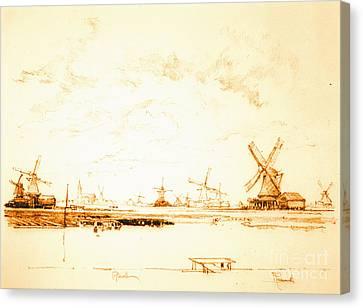 Windmills Zaandam Holland 1897 Canvas Print