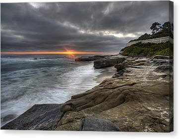 Windnsea Fence Canvas Print by Peter Tellone
