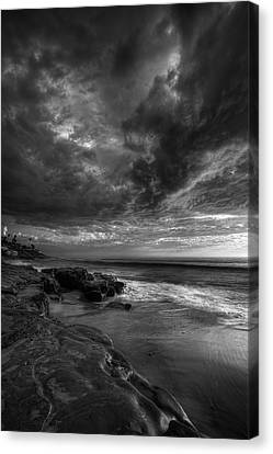 Windnsea Stormy Sky Bw Canvas Print by Peter Tellone