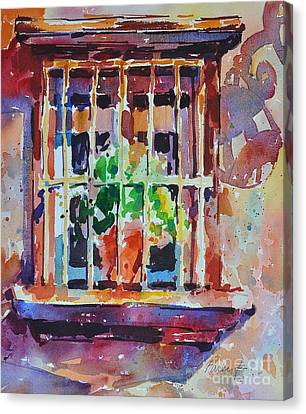 Canvas Print featuring the painting Window And Cast Shadow by Roger Parent