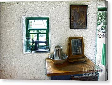 Window And Little Dressing Table In An Old Thatched Cottage Canvas Print by RicardMN Photography