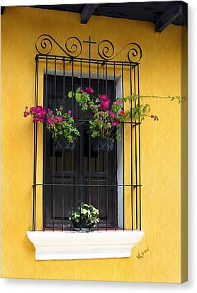Window At Old Antigua Canvas Print by Kurt Van Wagner
