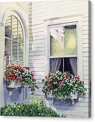 Flower Boxes Canvas Print - Window Boxes by David Lloyd Glover