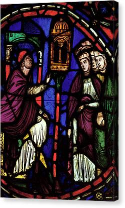 Window Depicting A Man Preaching To Three Women, Ile De France Workshop Stained Glass Canvas Print by French School
