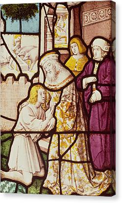 Window Depicting The Return Of The Prodigal Son, Cologne School Stained Glass Canvas Print