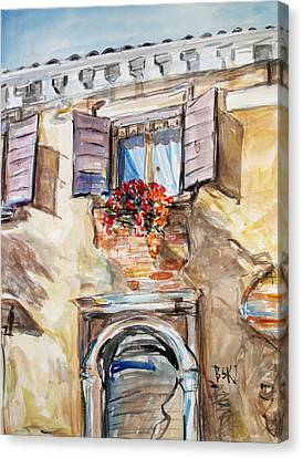 Canvas Print featuring the painting Window Flowers 1 by Becky Kim