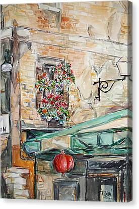 Canvas Print featuring the painting Window Flowers 2 by Becky Kim