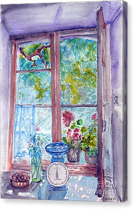 Canvas Print featuring the painting Window by Jasna Dragun
