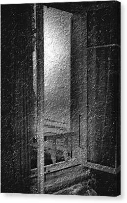 Window Ocean View Black And White Digital Painting Canvas Print by Cathy Anderson
