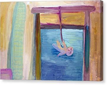 Window  Of My Childhood Canvas Print by Simonas Pazemeckas