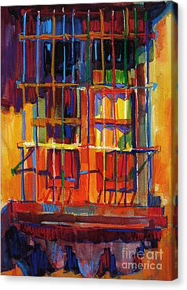 Canvas Print featuring the painting Window On Hot Day by Roger Parent
