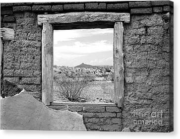 Window Onto Big Bend Desert Southwest Black And White Canvas Print by Shawn O'Brien