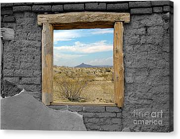 Window Onto Big Bend Desert Southwest Color Splash Black And White Canvas Print by Shawn O'Brien