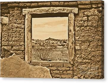 Scenic Landscape Canvas Print - Window Onto Big Bend Desert Southwest Landscape Rustic Digital Art by Shawn O'Brien