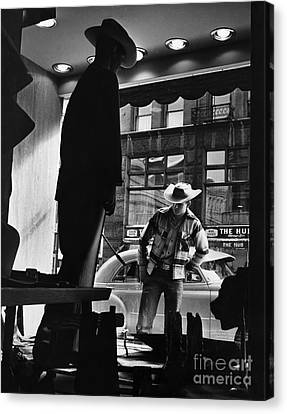 Window Shopping Cowboy Canvas Print by Photo Researchers