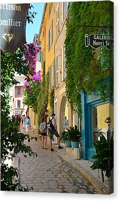 Window Shopping In St Tropez Canvas Print by Corinne Rhode