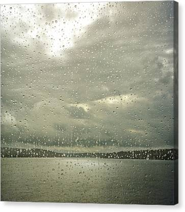 Canvas Print featuring the photograph Window Tears by Sally Banfill
