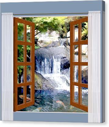 Window View Garden Waterfall With Koi Pond  Canvas Print by Elaine Plesser
