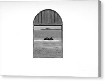 Window View Of Desert Island Puerto Rico Prints Black And White Canvas Print