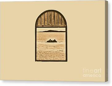 Window View Of Desert Island Puerto Rico Prints Rustic Canvas Print by Shawn O'Brien