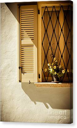 Window With Vase And Petunias Canvas Print by Silvia Ganora