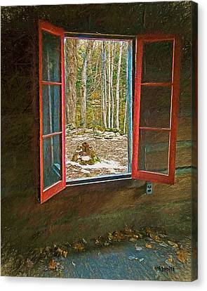 Window With View Abandoned Elkmont Log Cabin Autumn Canvas Print by Rebecca Korpita