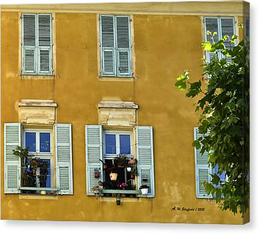 Canvas Print featuring the photograph Windowboxes In Nice France by Allen Sheffield
