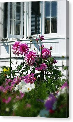Canvas Print featuring the photograph Windows And Flowers by Randy Pollard