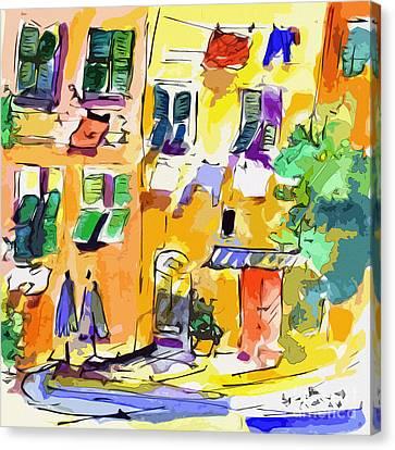 Windows In Portofino Italy Canvas Print by Ginette Callaway