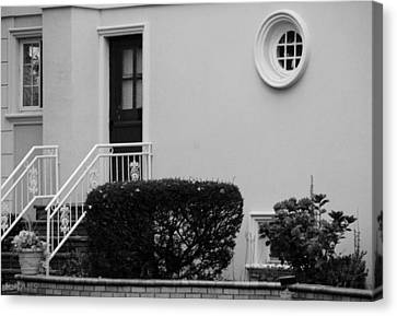 Windows In The Round In Black And White Canvas Print by Rob Hans