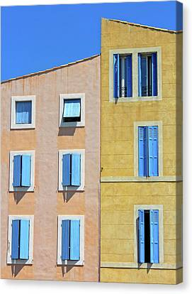 Canvas Print featuring the photograph Windows Martigues Provence France by Dave Mills