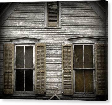 Sepia Vintage Farmhouse Canvas Print - Windows Of Abandon by John Stephens