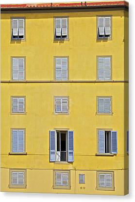 Windows Of Florence Against A Faded Yellow Plaster Wall Canvas Print by David Letts