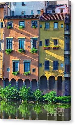 Windows On The River Arno Canvas Print by Nicola Fiscarelli