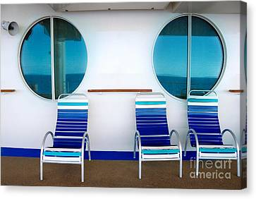 Windows Reflecting The Sea Canvas Print by Amy Cicconi