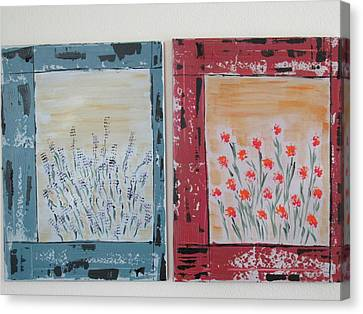 Canvas Print featuring the painting Windows To The Basques by Sharyn Winters