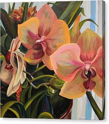 Windowsill Orchids Canvas Print by Trina Teele