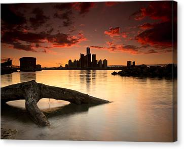 Windsor And Detroit Sunset Canvas Print