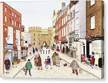 Windsor Castle, 1989 Watercolour On Paper Canvas Print by Gillian Lawson