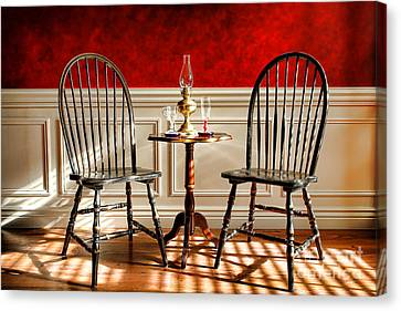 Oil Lamp Canvas Print - Windsor Chairs by Olivier Le Queinec
