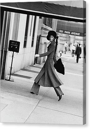 1960s Fashion Canvas Print - Windsor Elliot Walking Toward An Apartment by Jack Robinson