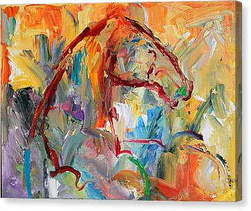 Windstorm  Horse  28 2014 Canvas Print by Laurie Pace