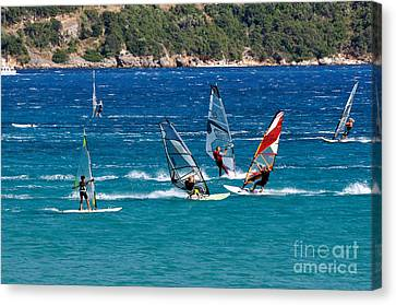 Board Canvas Print - Windsurfing In Vasiliki Bay by George Atsametakis