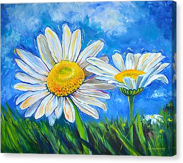 Windswept Daisies Canvas Print by Lisa Fiedler Jaworski