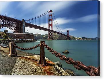 Windy Day At Golden Gate Bridge Canvas Print by Maico Presente