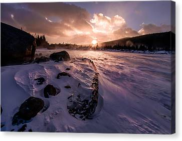 Canvas Print featuring the photograph Windy Sunrise by Steven Reed