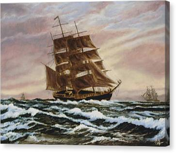 Canvas Print featuring the painting Windy Voyage by Rick Fitzsimons
